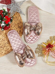 Glitter Bow Decor Quilted Sliders