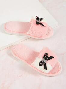 Rhinestone & Bow Decor Faux Fur Slippers