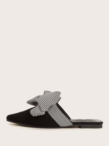 Houndstooth Bow Decor Flat Mules
