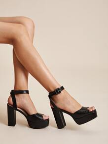 Croc Embossed Ankle Strap Chunky Heels