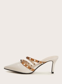 Spike Decor Point Toe Stiletto Heeled Mules