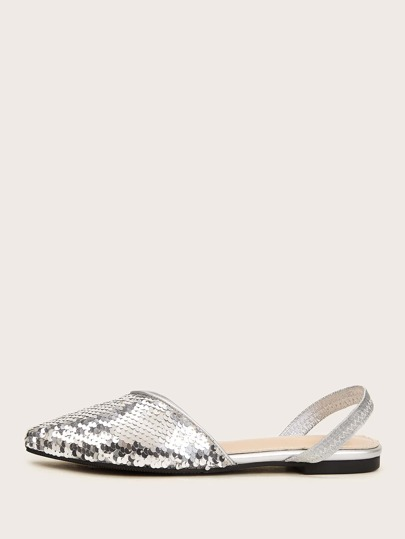 Sequin Decor Point Toe Slingback Flats