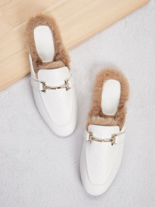 Snaffle Contrast Faux Fur Flat Mules