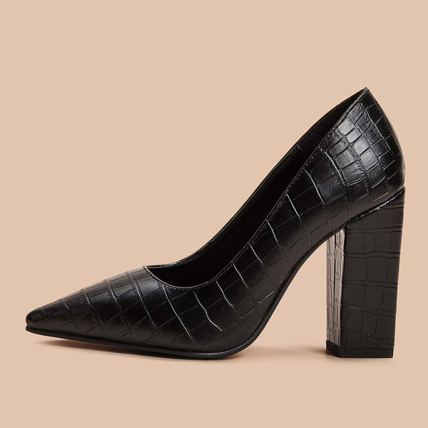 Croc Embossed Point Toe Chunky Heels, Black