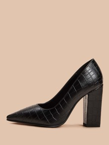 Croc Embossed Point Toe Chunky Heels