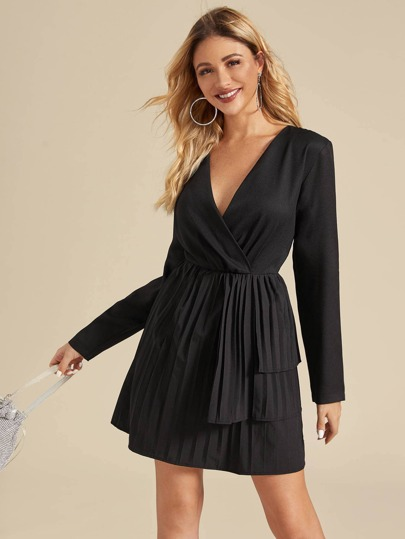 Surplice Neck Pleated Hem A-line Dress