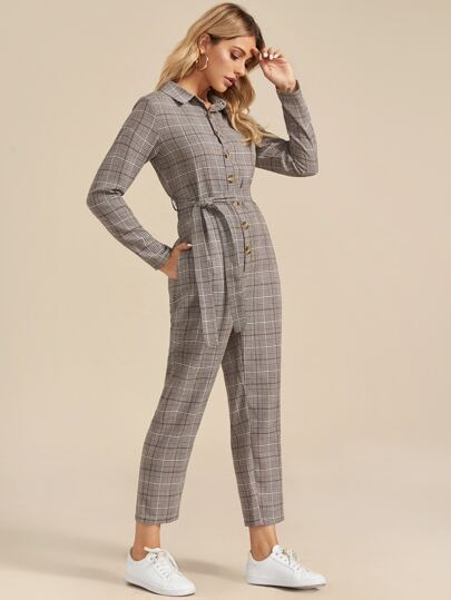 Tartan Print Button Front Belted Jumpsuit