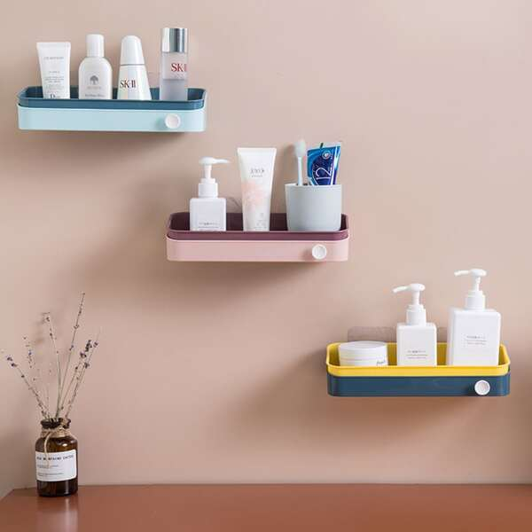 1pc Wall Mount Drain Storage Rack, Multicolor