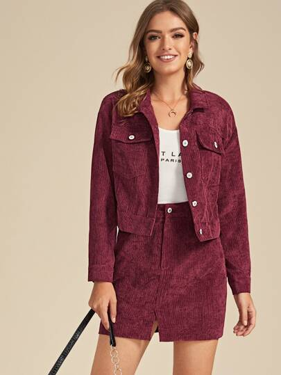 Pocket Front Corduroy Trucker Jacket & Skirt