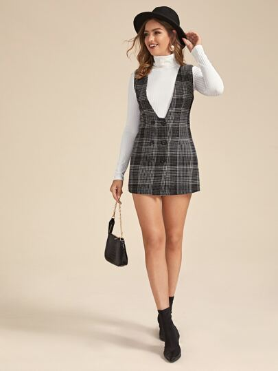 Plaid Print Button Front Linen Dress