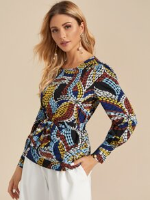 Graphic Print Self Tie Blouse