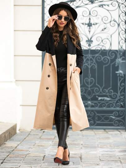 Contrast Panel Double Breasted Belted Trench Coat
