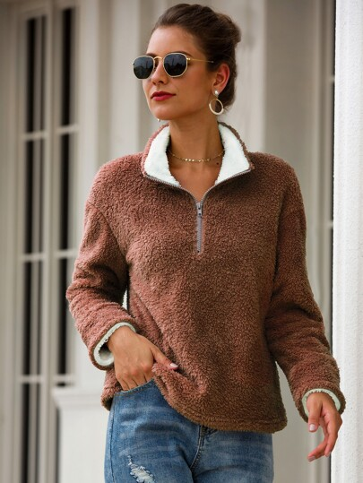 Solid Half Zip Teddy Sweatshirt