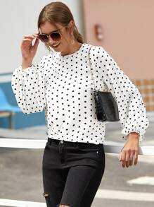Polka Dot Bishop Sleeve Blouse