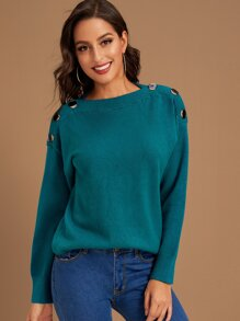 Drop Shoulder Button Side Jumper