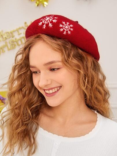 Snowflake Embroidered Beret Cap