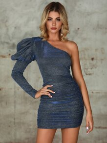 Double Crazy One Shoulder Gigot Sleeve Glitter Dress