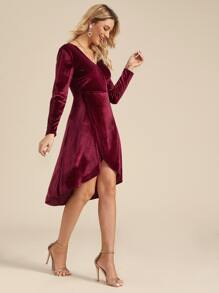 Surplice Front Tulip Hem Velvet Dress