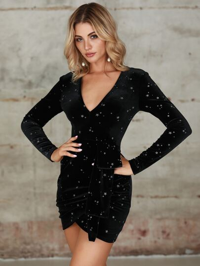 Double Crazy Star Velvet Wrap Bodycon Dress
