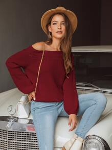 Boat Neck Pointelle Knit Sweater