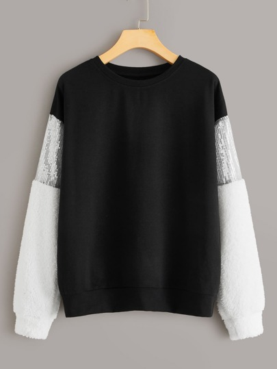 Contrast Sequin Panel Crew Neck Sweatshirt