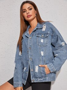 Ripped Washed Denim Trucker Jacket