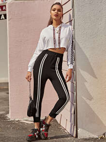 Striped Tape Front Elastic Waist Sweatpants