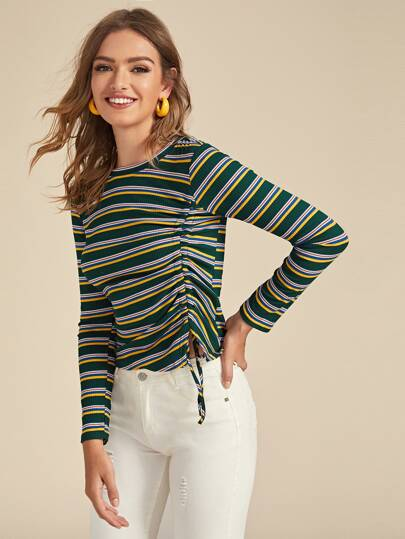 Colorful Striped Drawstring Ruched Side Ribbed Tee