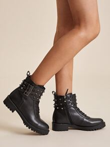 Spiked Decor Side Zip Lug Sole Boots