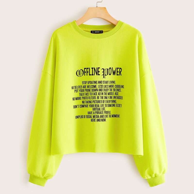 Neon Lime Drop Shoulder Slogan Graphic Pullover, Green bright