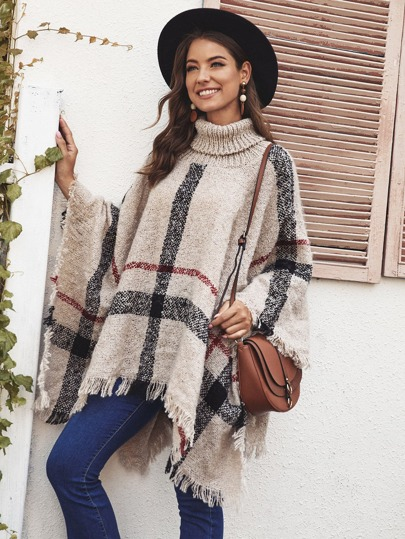 Fringe Hem Plaid Sweater Cape