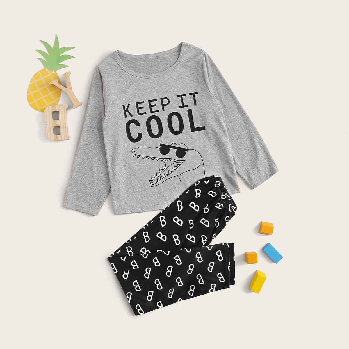 Пижама с текстовым принтом для мальчиков