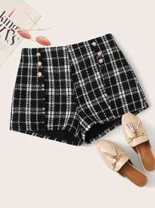 Double Pearls Breasted Tweed Shorts