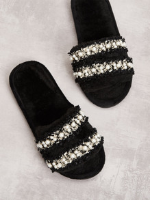 Faux Pearl Decor Tweed Slippers