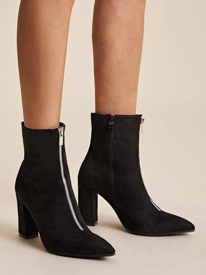 Zip Front Point Toe Chunky Boots