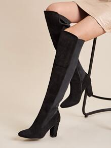Two Tone Side Zip Knee High Boots