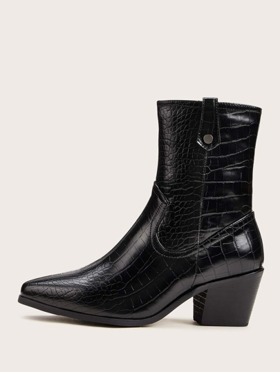 Croc Embossed Point Toe Chunky Boots