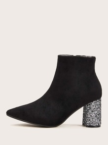 Point Toe Glitter Chunky Boots