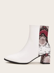 Point Toe Snakeskin Panel Western Boots