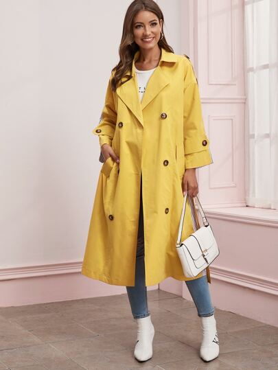 Two Tone Vertical Stripe Belted Trench Coat