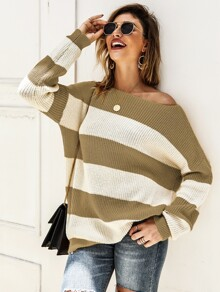Drop Shoulder Ribbed Knit Stripe Jumper