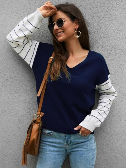 V-neck Contrast Stripe Sleeve Sweater