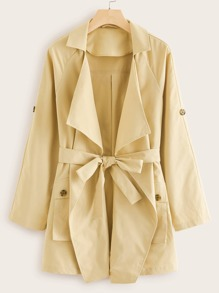 Raglan Sleeve Flap Pocket Belted Trench Coat