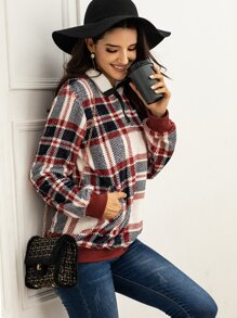 Plaid Popper Half Placket Sweatshirt