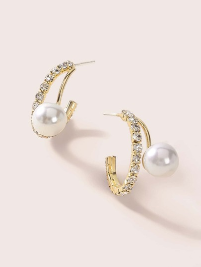 1pair Faux Pearl Decor Rhinestone Engraved Cuff Hoop Earrings