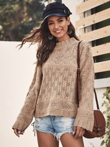 Pointelle Knit Mock Neck Sweater