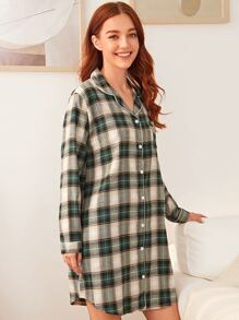 Plaid Button Front Night Dress
