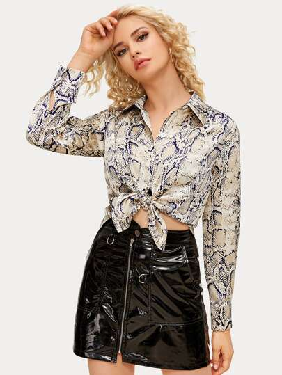 Snakeskin Print Button Up High Low Blouse
