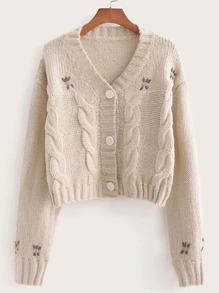 Floral Embroidered Cable Knit Cardigan