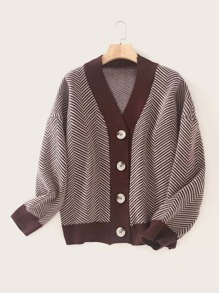Button Front Contrast Binding Striped Cardigan